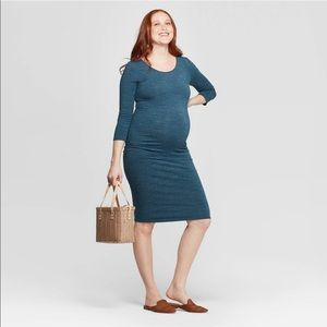 Isabel Maternity Long Sleeve Forest Green Dress